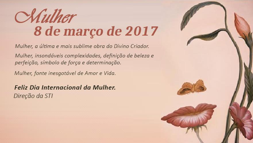 Folder com a Mensagem Dia Mulher STI em 2017